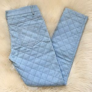 MOSCHINO Lt. Blue Quilted Denim Pants. Size 6 NWT